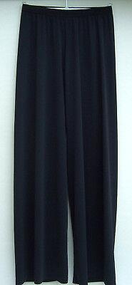 Energico Pantalone Nero Ampia Gamba Lunga Tipo Palatso. Jersey Crepe Medio Tende Splendidamente-mostra Il Titolo Originale