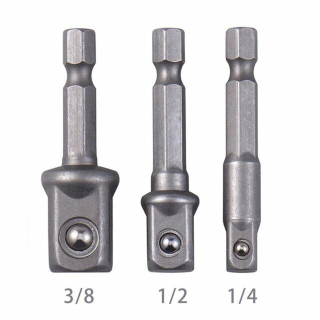 "3 Piece Drill Bit Socket Adapter Set 1-3//8/"" 1-1//2/""-1//4/"""