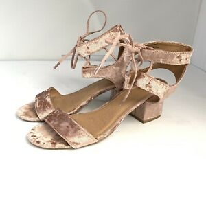 Report-Womens-Open-Toe-Crushed-Velvet-Block-Heel-Sandals-Size-8-Blush-Pink-Shoes