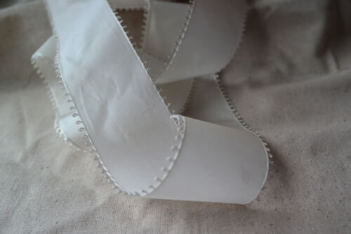 "50 yard roll vintage 100/% rayon white 2 1//2/"" wide picot ribbon wedding hat dress"