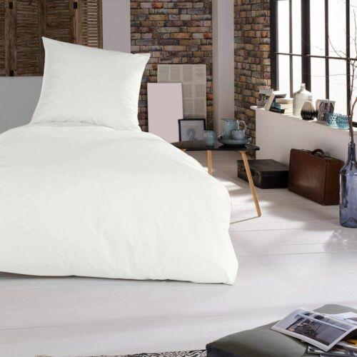 Bettwäsche Bettgarnitur Bettbezug 2 teilig 155 x 220 cm Weiß 100/% Baumwolle