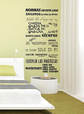 Vinilo decorativo #83# NORMAS DE CASA Pegatina stickers