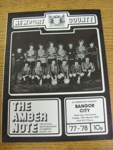 14021978 Newport County v Bangor City Welsh Cup Stained On Back. Good cond