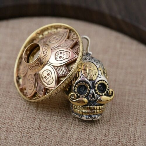 Reino Unido STOCK * Plata esterlina 925 Collar Colgante de Cráneo mexicano Día de los muertos