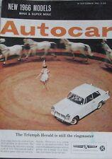 Autocar magazine 10/9/1965 featuring Austin Mini Cooper, Morgan, Auto Union Audi