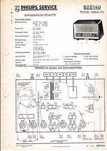 Service Manual-Anleitung für Philips B2 D14 U,Philetta Spezial 214