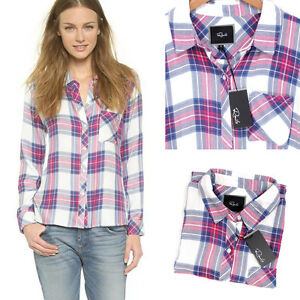 771188a4 Rails Hunter Plaid Button Down Shirt White Fuschia Rayon Long sleeve ...