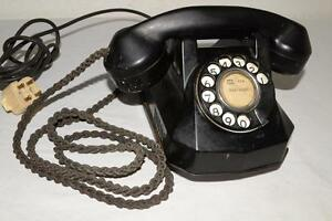 Antique/Vtg AUTOMATIC ELECTRIC Rotary Phone TELEPHONE Bakelit BRAIDED CLOTH CORD