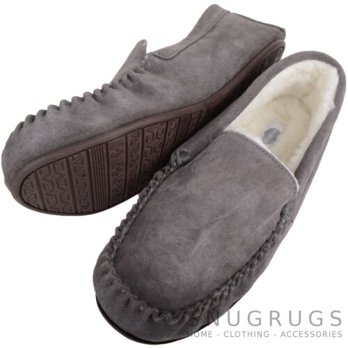 SNUGRUGS Mens Genuine Suede Wool Lined Sheepskin Moccasin Slippers Rubber Sole