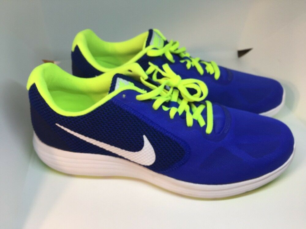 NIKE Revolution 3 Men's Running Shoes Blue/White/Volt 819300 403 New Comfortable Comfortable and good-looking