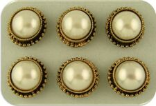 2 Hole Beads White Faux Pearl Crowns Bridal Jewelry WEDDING Buttons GOLD Qty 6