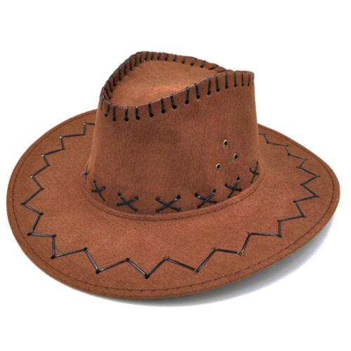 Unisex Cowboy Bucket Brim Western Knight Hat with Cord Felt Fancy Wide BrimB ES
