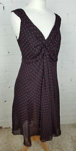 TEATRO-LOVELY-BLACK-DRESS-WITH-RED-SQUARE-DOTTY-PRINT-SIZE-18-VGC