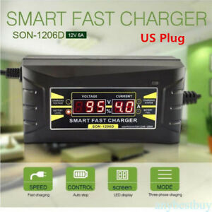 12V-6A-Multifunction-Car-Motorcycle-Fast-Leadacid-Battery-Charger-LCD-Display-US