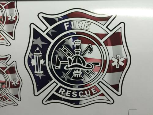 Fire and Rescue American Flag Shield Decal