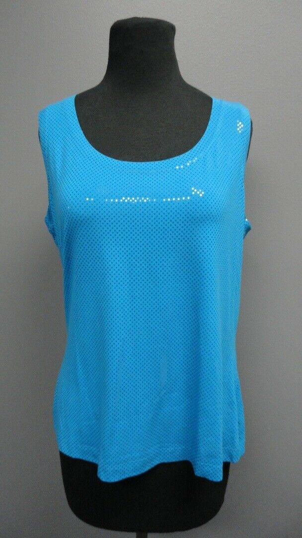 ST. JOHN Blau Sleeveless Scoop Neck Shimmer Casual Blouse Top Sz L GG4226