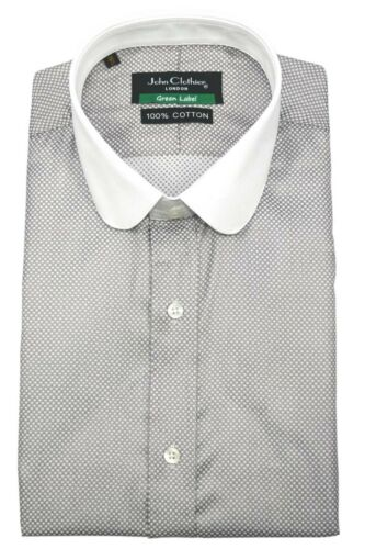 Peaky Blinders Mens Penny Collar shirt Grey White dots Club Round Shelby Gents