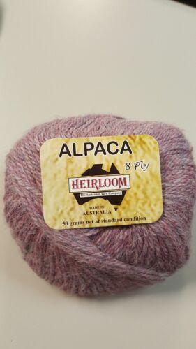Heirloom Alpaca 8 Ply #969 Tea Rose 100/% Alpaca  50g