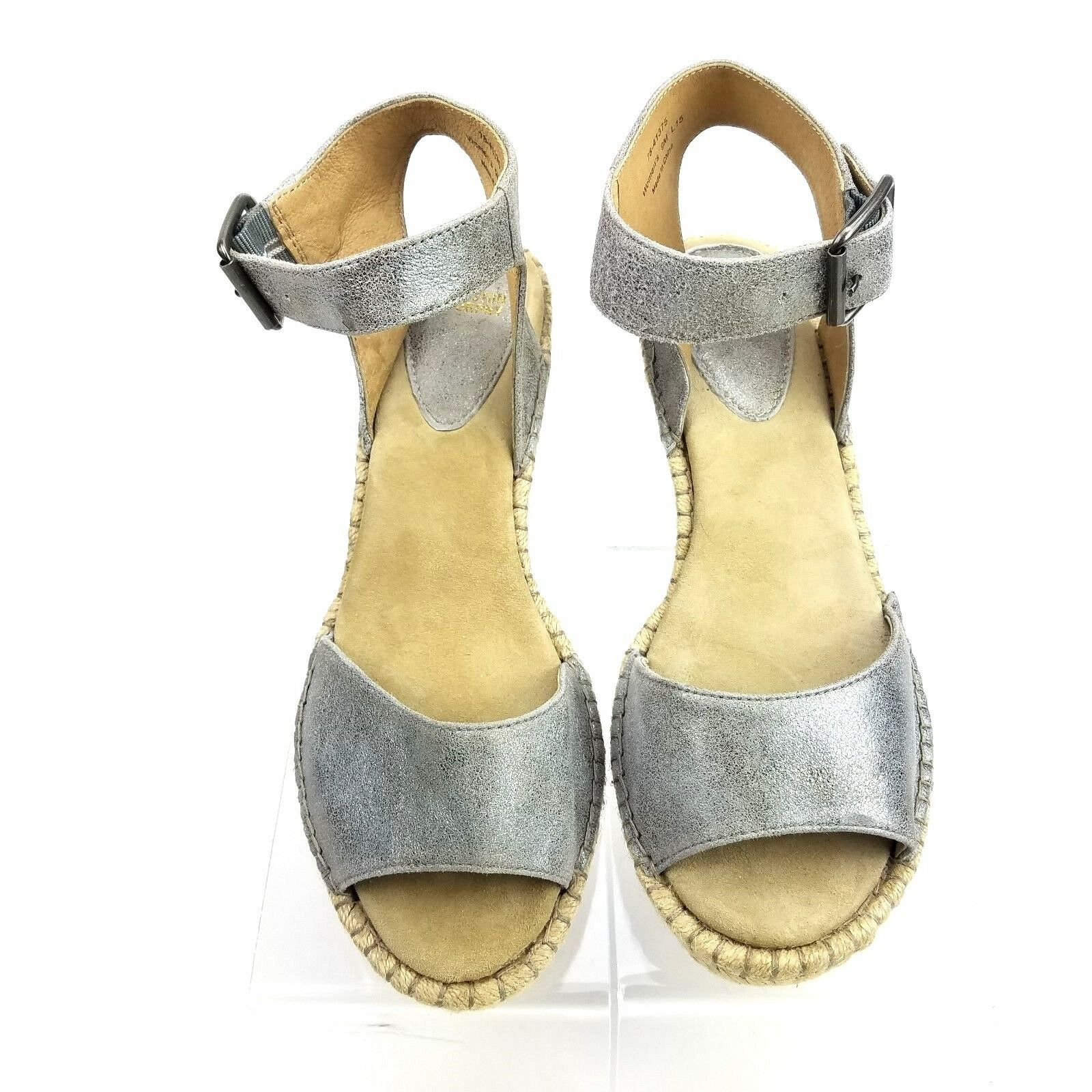 Johnston Murphy 9M Metallic Silve Leather Ankle Strap Espadrille Wedge Sandals