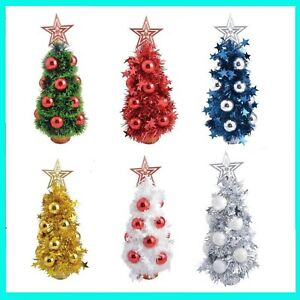 Albero Di Natale 40cm.Albero Alberello Di Natale Natalizio 40 Cm Pino Finto Colorati Colorato Con Base Ebay
