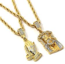 "Mens Gold Two Piece Jesus & Prayer Hand Set Pendant Hip Hop 24"" Rope Chain D421"