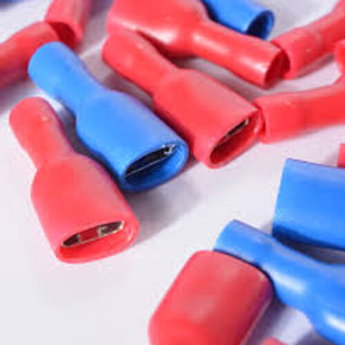 100 x Red Blue Insulated 6.3 Crimp Spade Terminal Connector Auto Car Wire Cable