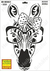 Schablone-Stencil-A3-133-5259-Funny-Zebra-Neu-Heike-Schaefer-Design