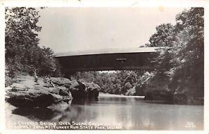 Nashville-Indiana-Turkey-Run-State-Park-Sugar-Creek-Covered-Bridge-1940s-RPPC