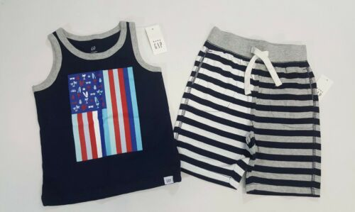 NWT Baby Gap Boys Size 2t or 5t Navy Blue Flag Tank Top /& Striped Knit Shorts