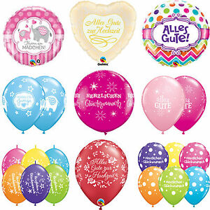 German-Language-Latex-amp-Foil-Qualatex-Balloons-Gluckwunsch-Hochzeit-Alles-Gute