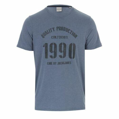 Men/'s Jack Jones Jay Logo Crew Neck Regular Fit T-Shirt in Blue