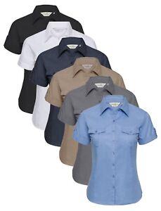 Camicia da Uomo Russell Collection Lungo Manica Corta Blu Bianco Nero Grigio Tutte Le Taglie