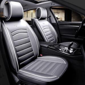 2x-Autositzauflagen-Komfort-Vordere-Grau-Kunstleder-Vordersitzauflagen-Elegant