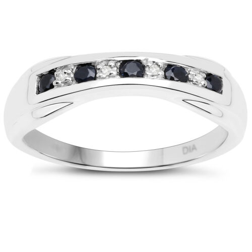Sterling Silver 6mm width Sapphire /& Diamond Channel set Eternity Ring H to W