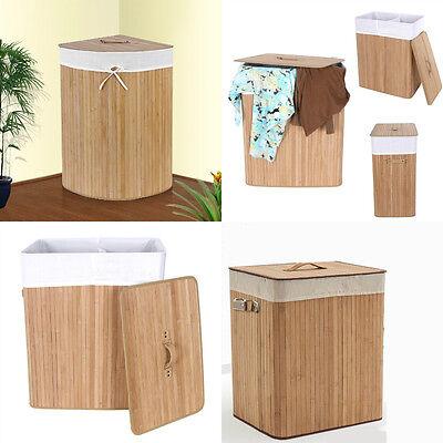 Natural Rectangular Corner Folding Bamboo Laundry Washing