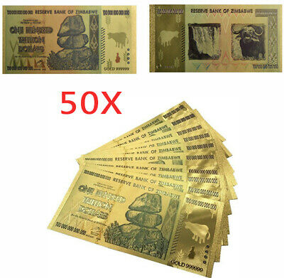 50Pcs $100 One Hundred Trillion Dollar Zimbabwe Gold Banknote Set w// Rock COA