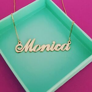 Real gold name necklace / pure gold nameplate and chain