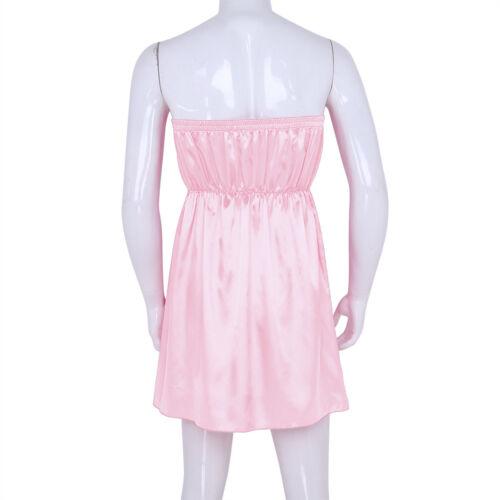 Men's Sissy Underwear Shiny Satin Nightwear High Low Sleepwear Elastic Pajamas