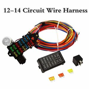 Details about Universal 14 Circuit Wiring Harness Muscle Car Hot Rod on universal wiring harness kit, universal hot water heaters for cars, universal painless wiring harness, universal wiring harness diagram, universal hot rod motor mounts, universal gm wiring harness, universal hot rod mirrors,