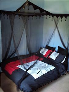 Black-Tasselled-4-Poster-Mosquito-Net-Bed-Canopy-NEW-Double-Queen-Size