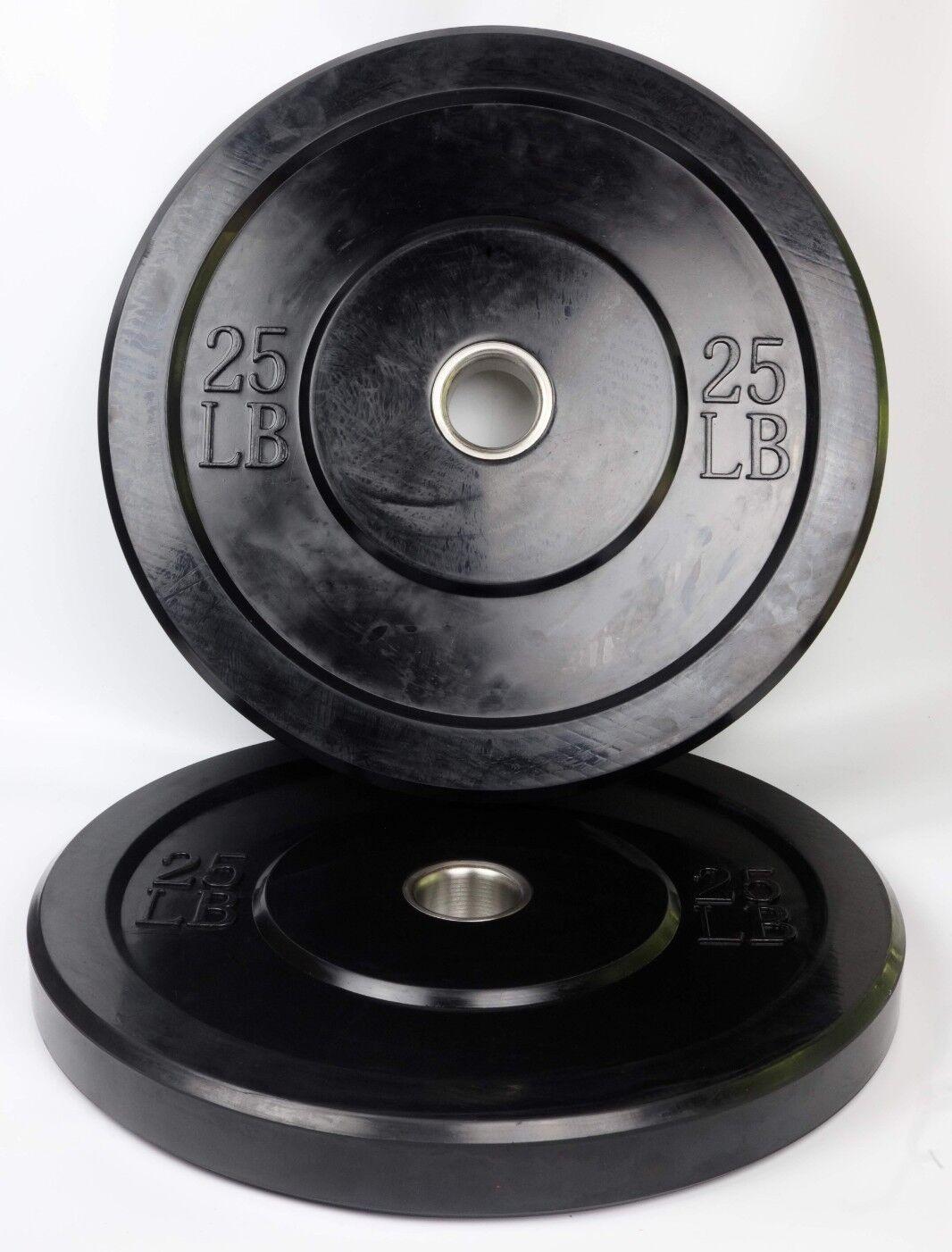 Bumper Plates 25 LB Pair Solid Rubber 2