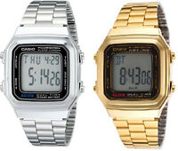 Casio Men's Digital Dual Time Calendar 10Yr Battery Stainless Steel Watch A178W