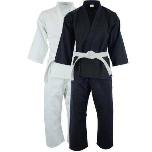 Karate Uniform Heavy or light weight Gi Pant White Black w/ Belt adult kids