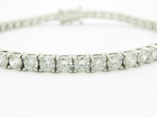 Platinum Sterling Silver White Sapphire 4MM Wide Tennis Bracelet Triple Lock New