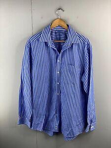 R.M. Williams Stockyard Men's Long Sleeve Button Up Shirt Size L Blue Stripe