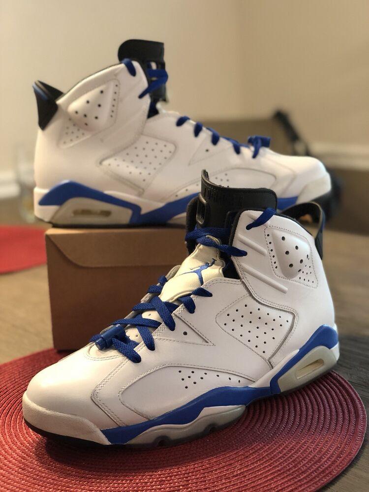 NIKE AIR JORDAN RETRO BLUE 6 VI 384664-107 SPORT BLUE RETRO  Chaussures de sport pour hommes et femmes 5cd265