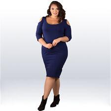 Ladies Plus Size 2XL/XXL Blue Half Sleeve Cold Shoulder Stretch Club Party Dress