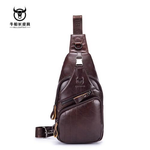 Men/'s Genuine Leather Casual Sling Chest Crossbody Shoulder Business Travel Bag