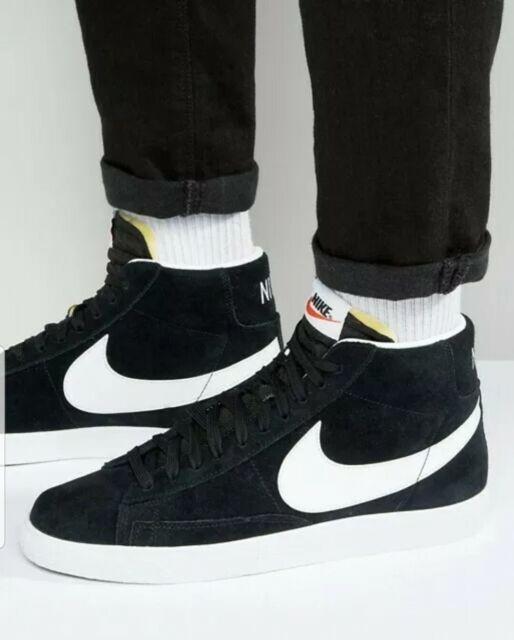 new Nike Blazer Mid PRM Black White Premium Mid Top 429988 006 Mens Size 14