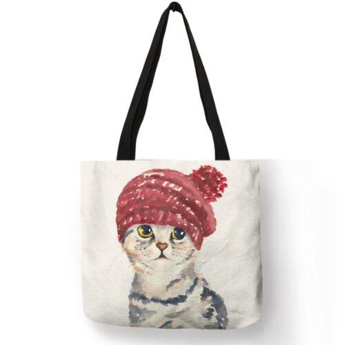 Oil Painting Style Cat Print Women Linen Tote Bags Linen Shoulder Bag